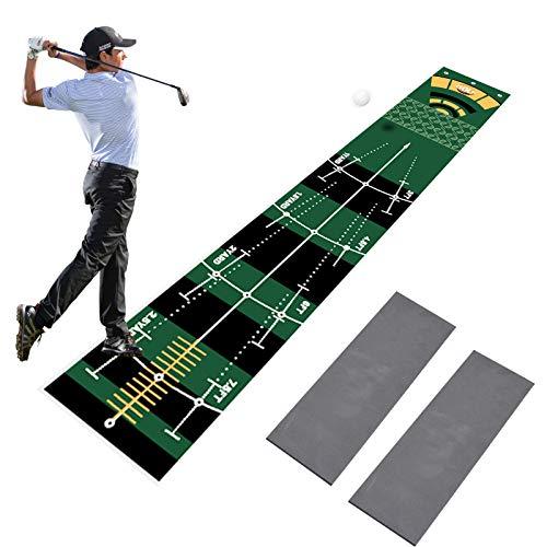 Kacsoo Alfombra de Golf 0,5 x 3 m Equipo de Entrenamiento de Golf Regalo de Golf Hombres y Mujeres con 2 Pisos de Pendiente Desmontables para Interior Patio Al Aire Libre