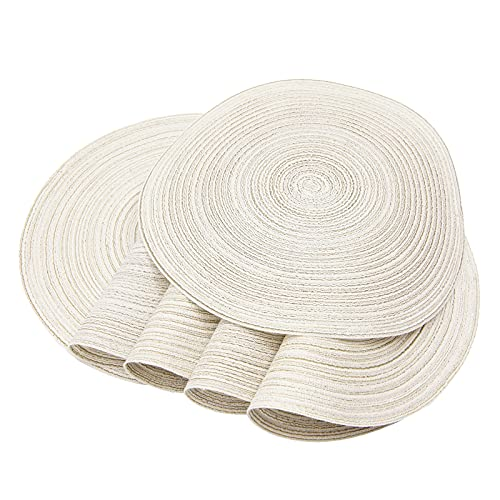 SHACOS Round Placemats Set of 6 Cotton Placemats Washable 15 inch Table Mats for Kitchen Tables (Ivory, 6)