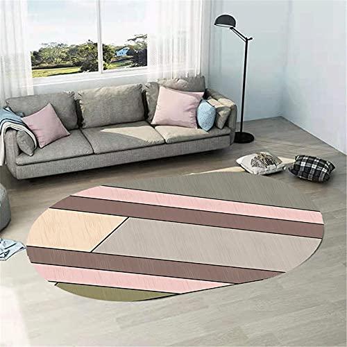 WCCCW Simple Simple geométrico patrón Abstracto Forma Ovalada Forma de fácil cuidamiento de la Cama de la Cama de la Cama del área de la casa del área de la casa alfombra-140x200cm Suave Moderna Alfo