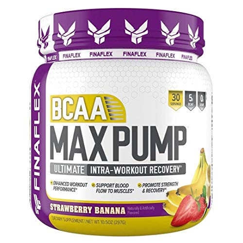 FINAFLEX Bcaa Max Pump Ultimate Intra Workout Recovery, White, Strawberry Banana Smoothie, 10 Ounce