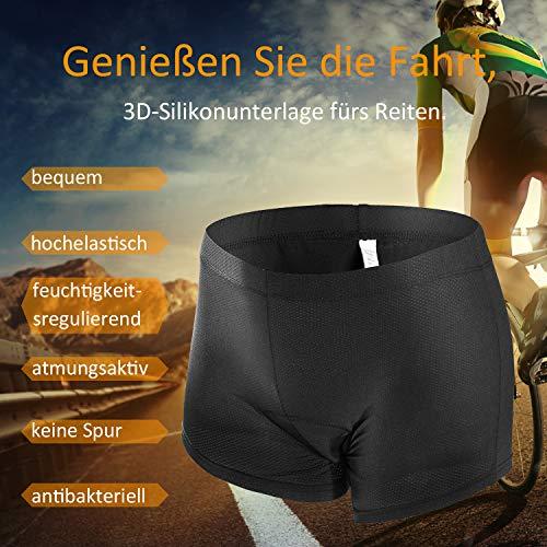 JXJFOZ Radunterhose Damen Gel – Fahrradhose Gepolstert Funktionsunterwäsche Atmungsaktiv 3D Unterhose für Radfahren Reiten Tour (S) - 2