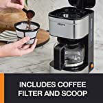 KRUPS Simply Brew Compact Filter Drip Coffee Maker, 5-Cup, Silver 9 PERFECT FOR 1 OR 2: Brews up to 5 cups of coffee/ 750 ml/ 25 fl ounces. CONVENIENT: Allows you to pour a cup of coffee while brewing and automatically keeps your coffee warm. SIMPLE AND EASY TO USE: Coffee pot with no drip spout, which controls the mess; easy On/Off button to start brewing and turn off the brewer; and a conveniently located water tank.