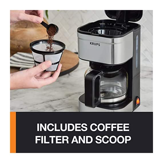 KRUPS Simply Brew Compact Filter Drip Coffee Maker, 5-Cup, Silver 3 PERFECT FOR 1 OR 2: Brews up to 5 cups of coffee/ 750 ml/ 25 fl ounces. CONVENIENT: Allows you to pour a cup of coffee while brewing and automatically keeps your coffee warm. SIMPLE AND EASY TO USE: Coffee pot with no drip spout, which controls the mess; easy On/Off button to start brewing and turn off the brewer; and a conveniently located water tank.