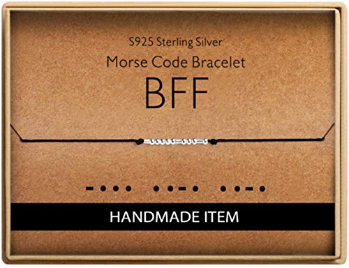 Birthday Gifts for Friends Morse Code BFF Bracelet 925 Sterling Silver Handmade Bead Adjustable String Bracelets Inspirational Jewelry for Women