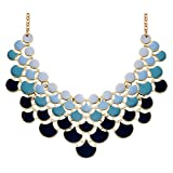 JANE STONE 2017 Fashion Bib Collar Necklace Multicolor Enamel Gold Statement Jewelry for Women(Fn0968-Ombre Niagara)