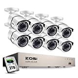ZOSI 8CH 1080P PoE Home Security Camera System Outdoor with 2TB Hard Drvie,H.265+ 8-Channel 5MP NVR Recorder,8pcs 2MP 1080P Outdoor Indoor PoE IP Cameras with 120ft Night Vision,Power Over Ethernet