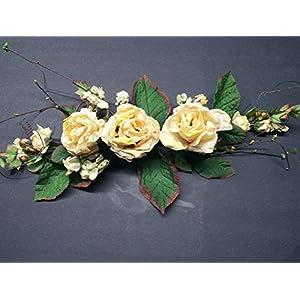 Silk Flowers Arrangements Cream/Yellow. Gorgeous Dried Look Rose Swags. Get 1 – Artificial Flowers #FWB01YN