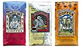 Raven's Brew Whole Bean Coffee Variety Pack - 3 Delicious Flavors - Wicked Wolf, Three Peckered Billy Goat and Deadman's Reach - 12 oz each