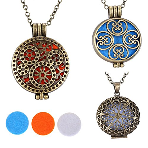 Salome Idea 3 PCS Aromatherapy Premium Steampunk Diffuser Necklace Locket 316L Alloy Teuelry on 24 inch Chain, Bronze