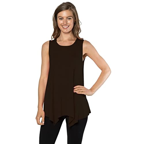 a927bcaf08674 Velucci Womens Tunic Tank Top T-Shirt - Loose Basic Sleeveless Tee Shirt  Blouse