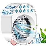 4 In 1 Mobile Klimageräte, USB-Klimaanlagenventilator mit 3 Kühlstufen, 7 Farben LED, Mobile Klimaanlage Leise,Luftbefeuchter, Luftreiniger und Aromazerstäuber für kleine Räume/Büro (Weiß)