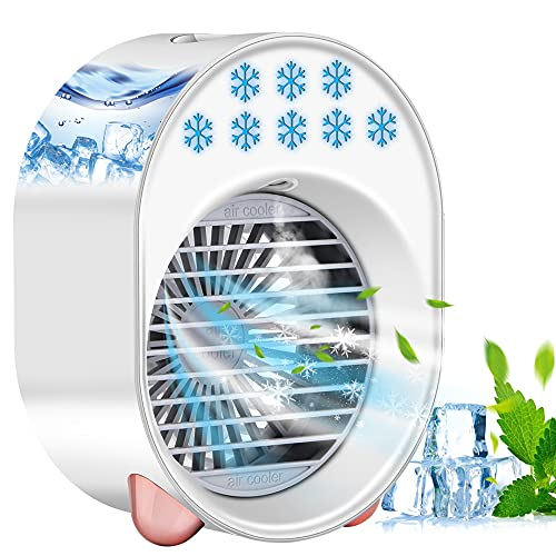 Mini Enfriador de Aire, Ventilador Portátil Agua Ventilador de sobremesa Recargable, 3 Velocidades & 7 Colores Luz Ajustable, para Hogar Oficina Viajes Exterior