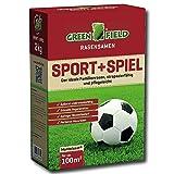 Greenfield Sport und Spiel Rasen Samen 2 kg Gras Saatgut Mantelsaat Familie 100 m²