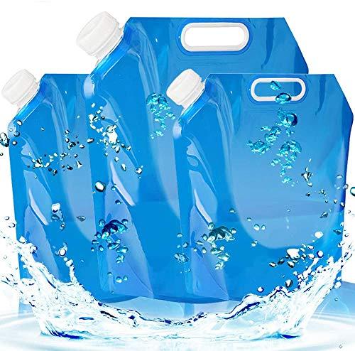 BETOY Juego de 3 bidones de agua plegables, portátiles y plegables, 5 L + 5 L + 10 litros, depósito de agua para senderismo, camping, picnic, barbacoa