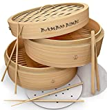 Bamboo Bimbi Chinese Steamer Basket - Traditional 10 Inch Bamboo Steamer Basket for Cooking Healthy Food in 2 Tiers Simultaneously - Bun, Dim Sum and Dumpling Steamer with Chopsticks, Tong and Liners