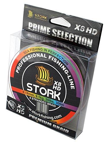 Stork HDx8, 8-hilo trenzado pesca premium 300m (Multicolor, 20 lbs / 9.1 kg / 0.18 mm)