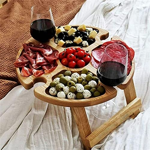 Wooden Outdoor Folding Picnic Table with Wine Glass Holder - Portable Creative 2 in 1 Wine Glass Rack & Compartmental Dish for Cheese and Fruit