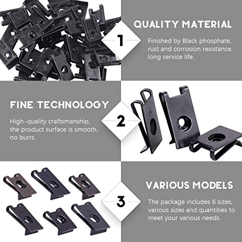225Pcs Wide Range Black Auto Car U-Clip U Nut Assortment Kit for Dash Door Panel Interior SAE