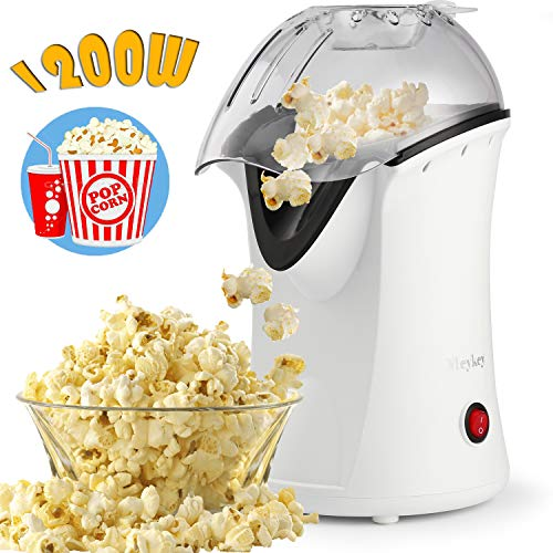 Hicient 1200W Popcorn Machine, Power Saving Safety and Health Popcorn Maker, Hot Air No Oil Popcorn Popper, popcorn machines for home, with Measuring Cup (White)