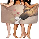 yuiytuo Toalla de baño,Juegos de Toallas Bath Towels Cat Dog Love Super Soft Ultra Absorbent Bath Towel Beach Towels For Kids Bath Set Bathroom Accessories