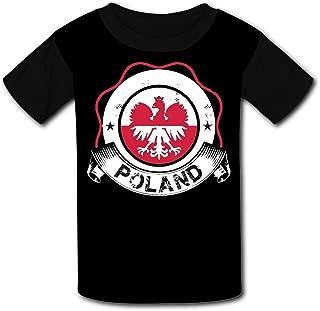ETJIJCKDI Kids 3D Print Poland Flag Poland Jersey World Cup 2018 Short Sleeve Tshirt