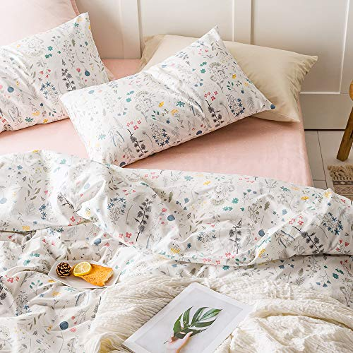 VKStar Twin Floral Duvet Cover Sets Kids Blossom Bedding Sets Reversible Botanical Pattern Teenagers Girls Duvet Cover with 2 Pillowcases Vintage Garden Plant Quilt Cover Sets for Women