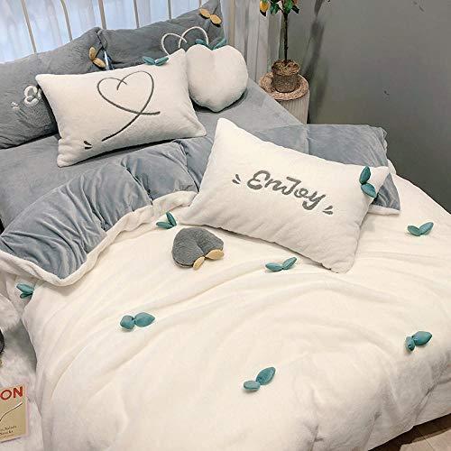 juego de ropa de cama 135x190-Princesa viento cama de invierno funda nórdica funda de edredón de algodón puro de felpa de doble cara...