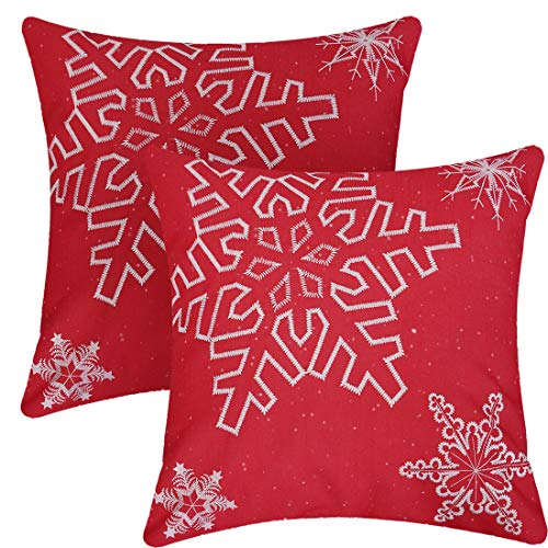 Simhomsen Embroidered Snowflake Throw Pillow Case, Christmas Holiday Cushion Cover Shells (Red, Square 18 x 18 Inches (Set of 2))
