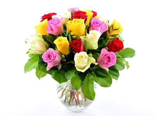 Blumenversand bundesweit! Blumenstrauß zum Geburtstag - 20 Stück bunt gemischte Rosen in guter Qualität! - mit Gratis Grußkarte versenden