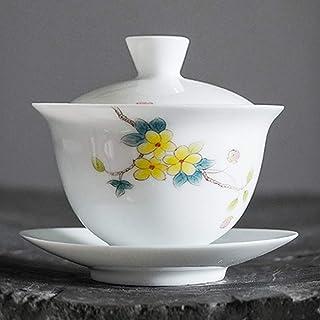 手绘蓋碗 茶杯 初桃三才懐蓋碗 180mlカンフーティーセット手作りの陶磁器 中国の茶道具 盖碗 茶器 陶瓷茶具 功夫茶具 手描きの蓋付き 匠人手制作 中国茶具
