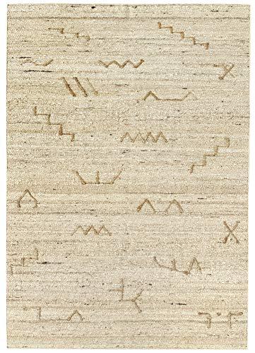 HAMID - Alfombra Kilim Montana con Diseño Rustico - 100% Lana - Alfombra Anudada a Mano - Alfombra de Salón, Dormitorio, Sala de Estar – Tonos Marrones y Beige - Diseño 1 (160x230cm)
