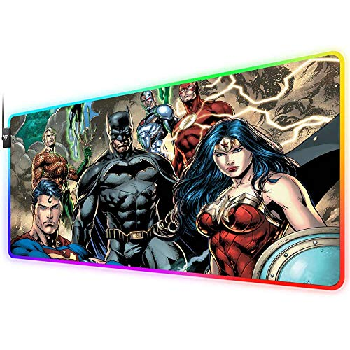 RGB Gaming Mouse Pad for League of Legends,LED Soft Extra Extended Large Mouse Pad,Anti-Slip Rubber Base,Computer Keyboard Mouse Mat 31.5 X 12 Inch(justice league superman batman wonder woman aquaman)