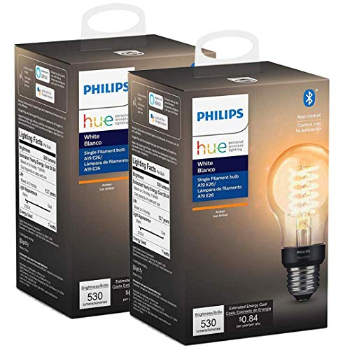 Philips Hue White Filament A19 Smart Vintage LED Bulb, Bluetooth & Hub Compatible (Hue Hub...