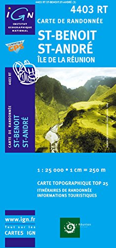 La Réunion ( Nordost) topographische Wanderkarte, 4403 RT Saint-Benoit, Saint-André, Bras-Panon, Sainte-Rose, Sainte-Suzanne, la Plaine, Éden, Grand Étang, IGN Landkarte 1:25.000, Top 25, IGN ( Institut Géographique National)