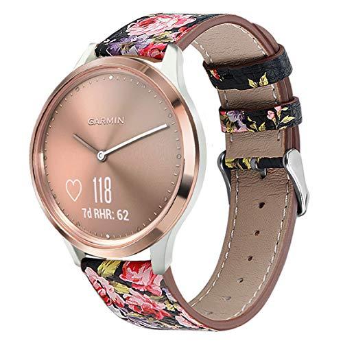 WATORY Ersatz für Garmin Vivomove HR Sport Armband, Quick Release Premium Echtleder Leder Ersatzarmband Uhrenarmband für Garmin Vivomove HR Sport/Vivomove HR Premium, Blume