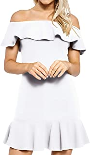 iNoDoZ Women's Solid Casual Off Shoulder Ruffle Sleeve Short Sleeve Mini Dress