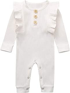 white ruffle romper baby