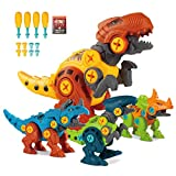 Take Apart Dinosaur Toys for Kids Ages 3-7, Pack of 4 Dinosaurs with Screwdrivers, STEM Building Set, Dino Kids Learning Toys, STEM Toy for Toddlers, Boys, and Girls