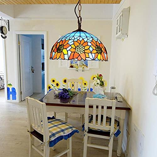 Lámpara de techo colgantes Tiffany vintage para comedor, Lámpara de araña retro diseño de girasol, redonda pantalla de cristal, 30cm, Altura ajustable, candelabro rústica para dormitorio, oficina