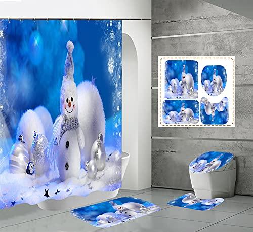 CQFFCG Juego de alfombras de baño 4 Piezas de baño de Serie navideña con Cortinas de Ducha Alfombrillas de baño Antideslizantes Impermeables Conjuntos(Forma 20)