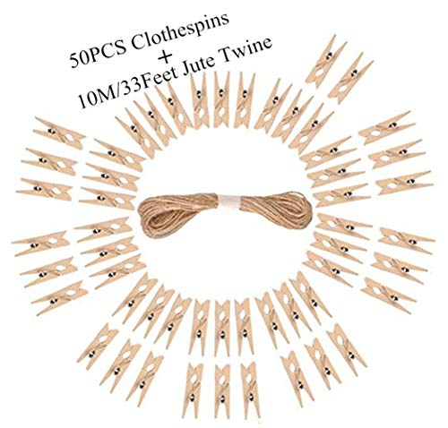 DurReus 50PCS Small Wooden Clothespins for Pictures with Jute Twine Miniature Clothes Pins for Crafts Decor Drying Clothing Peg Natural Wood Shirt Clips