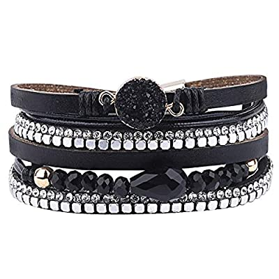 wrap bracelets Boho Multilayer Cuff Bracelet Handmade Wristband Braided Rope Cuff Bangle with Alloy Magnetic Clasp Jewelry for Women Teen Girl Gift (Multilayer-Black Stone)