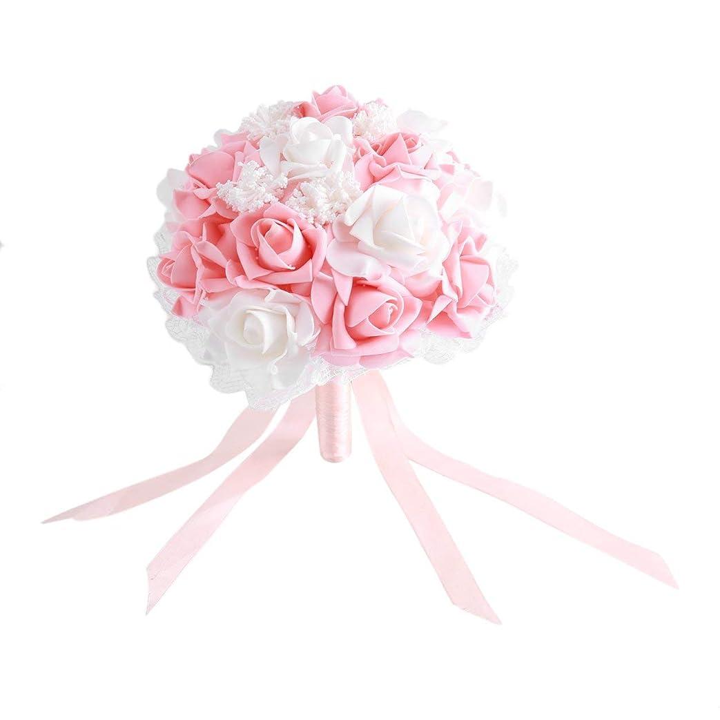 排泄物安価な怠惰Saikogoods 結婚式のロマンチックな花嫁のブーケ人工ローズハンドブーケ韓国スタイルのシミュレーションホールディングフラワーウェディング用品 シャンパンカラー