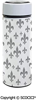 SCOCICI Vacuum Insulated Stainless Steel Water Bottle Flask Ethnic Lily Pattern Classic Retro Royal Vintage European Iris Ornamental Artwork