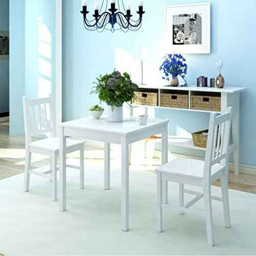 Festnight 3-TLG. Esstisch-Set Tischgruppe Essgruppe | Esszimmer Esstisch Esszimmerstühle| 1 Tisch & 2 Stuhl | 2 Personen Pinienholz Weiß