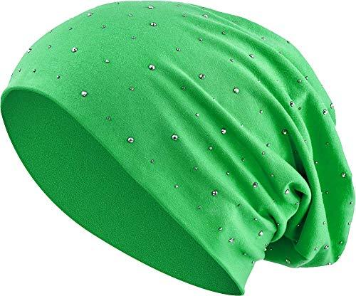 Balinco Jersey Baumwolle elastisches Long Slouch Beanie Unisex Herren Damen mit Strass Stern Steinen Mütze Heather in 35 (7) (Green)
