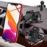 UVERTOOP Car Phone Holder, Upgraded Phone Holder Car Mount Air Vent 3 in 1 Dashboard Phone Holder for Car Windscreen Car Cradle for iPhone 12 11 Pro Xs Max XR 8 7 6 Plus Galaxy S10 S9 All Phone Model