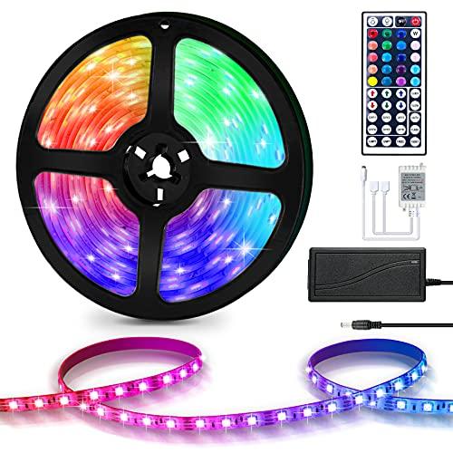 Lueigmo LED Strip 3m wasserdicht RGB LED Streifen Farbwechsel LED mit Fernbedienung Anwendungssteuerung Dimmbar LED Band für Zuhause Schlafzimmer TV Küche