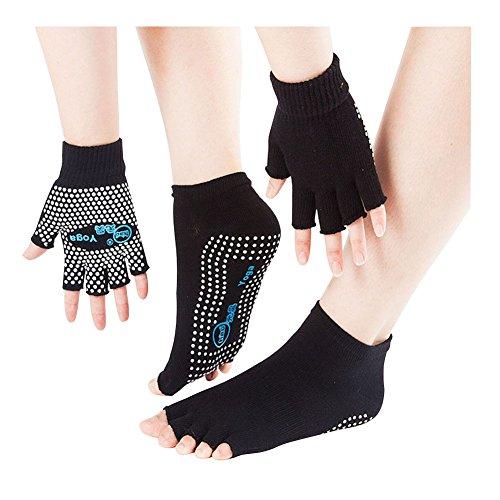 SwirlColor Guantes antideslizantes para yoga, pilates, sin dedos, con puntos de silicona blancos (guantes y calcetines)