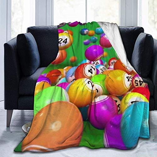 Manta de forro polar ultrasuave de bolas de bingo suave y cálida para cama, sofá, sala de estar